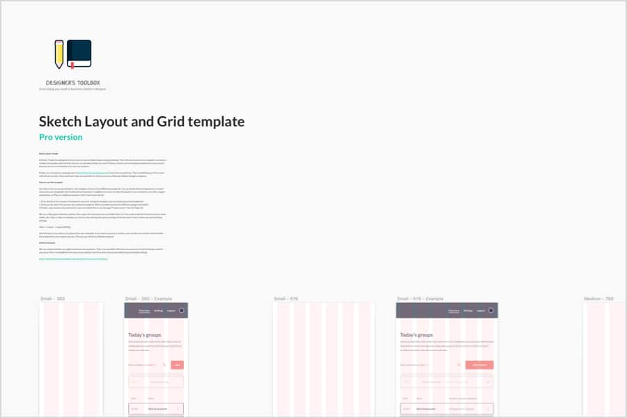Sketch Layout and Grid Template header