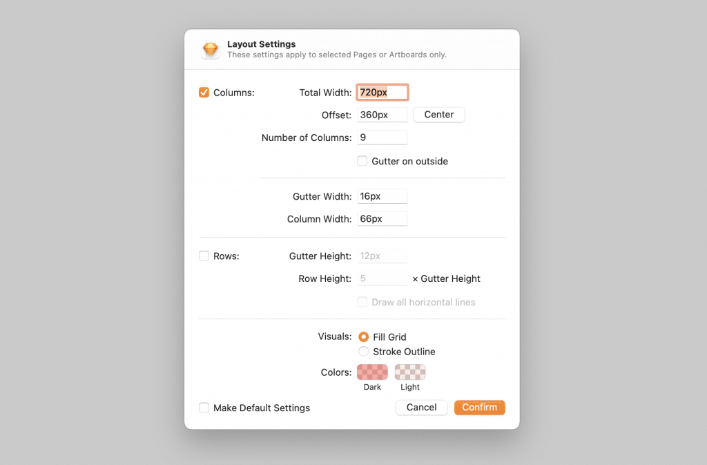 Sketch layout settings