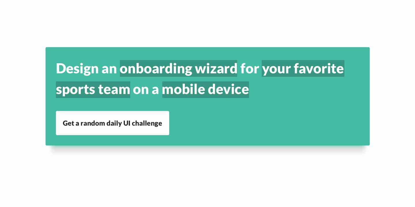 Daily UI Challenge Teaser